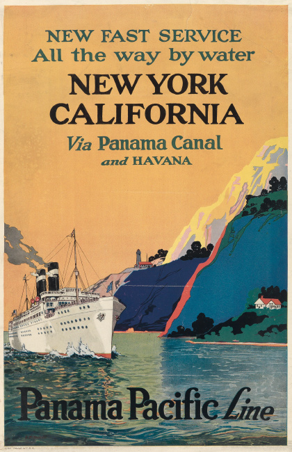 J.F. Butler, Panama Pacific Line / New York California via Panama Canal and Havana, circa 1928. $1,000 to $1,500.