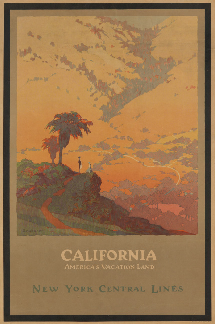 John O. Brubaker, California / America's Vacation Land / New York Central Lines, 1925. $10,000 to $15,000.