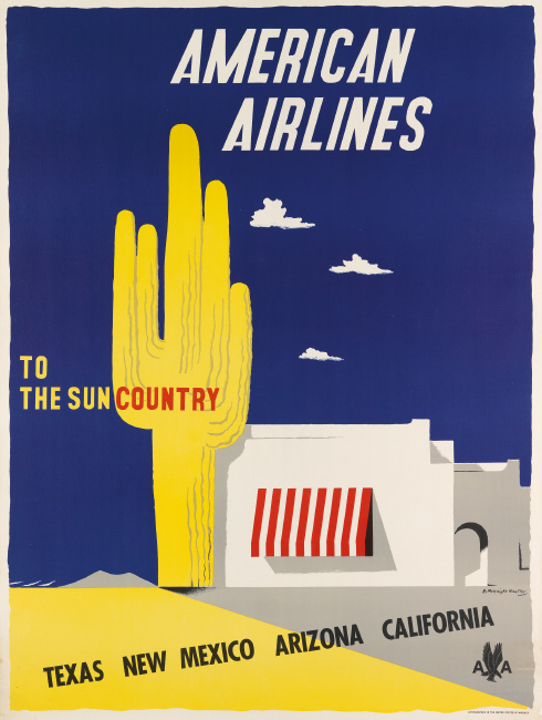 Edward McKnight Kauffer, American Airlines / To the Sun Country, 1948. $1,200 to $1,800.