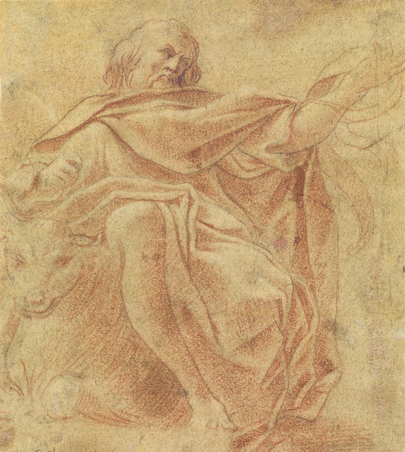 Ludovico Carracci, St. Luke, chalk, circa 1585-88. $8,000 to $12,000.