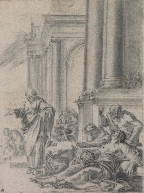 Laurent de la Hyre, St. Peter Healing the Sick, chalk and pencil, circa 1635. $15,000 to $20,000.
