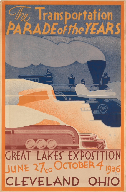 Leslie Ragan, The Transportation Parade of the Years / Great Lakes Exposition, 1936. $3,000 to $4,000.