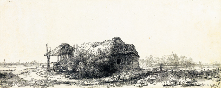 Rembrandt van Vijn, Landscape with a Cottage and Haybarn: Oblong, etching and drypoint, 1641. $60,000 to $90,000.
