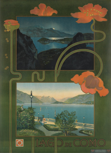Lago di Como, designer unknown, 1899. $1,500 to $2,500.