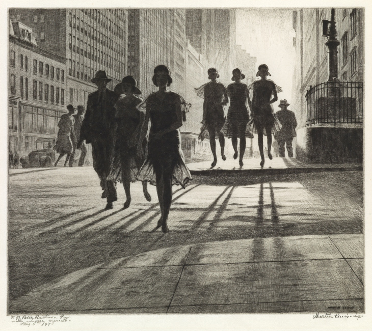 Martin Lewis, Shadow Dance, drypoint and sand ground, 1930. $30,000 to $50,000.