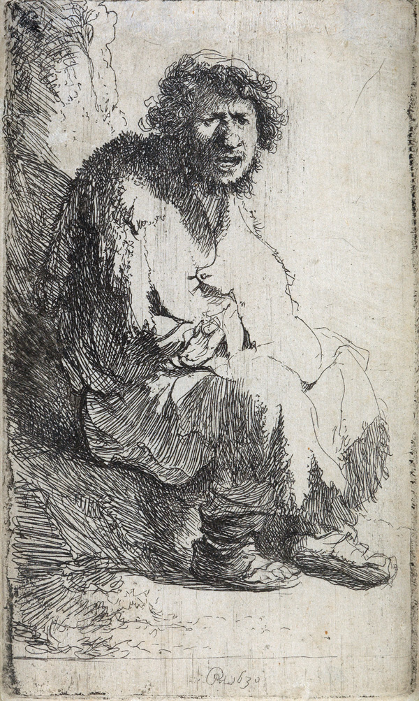 Lot 89: Rembrandt van Rijn, A Beggar Seated on a Bank, etching and drypoint, 1630. $20,000 to $30,000.