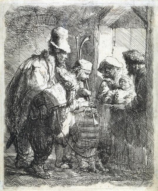 Lot 108: Rembrandt van Rijn, The Strolling Musicians, etching, circa 1635. $10,000 to $15,000.