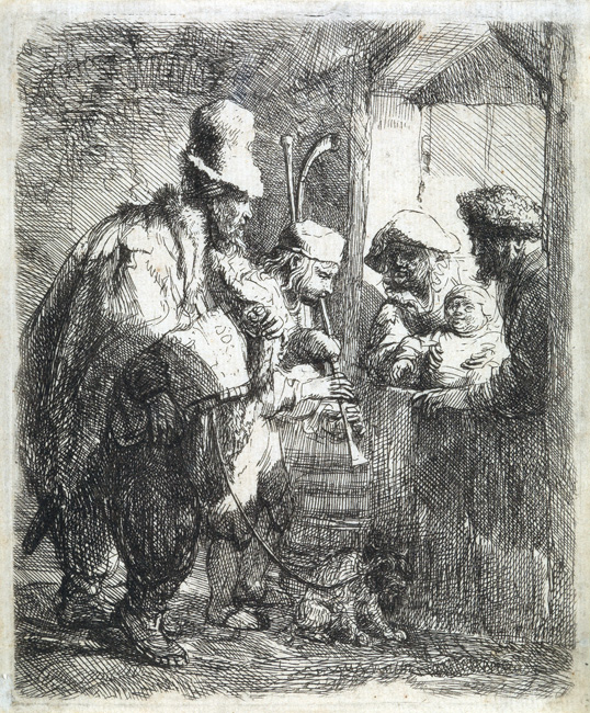 Lot 108: Rembrandt van Rijn, The Strolling Musicians, etching, circa 1635. $10,000 to $15,000.