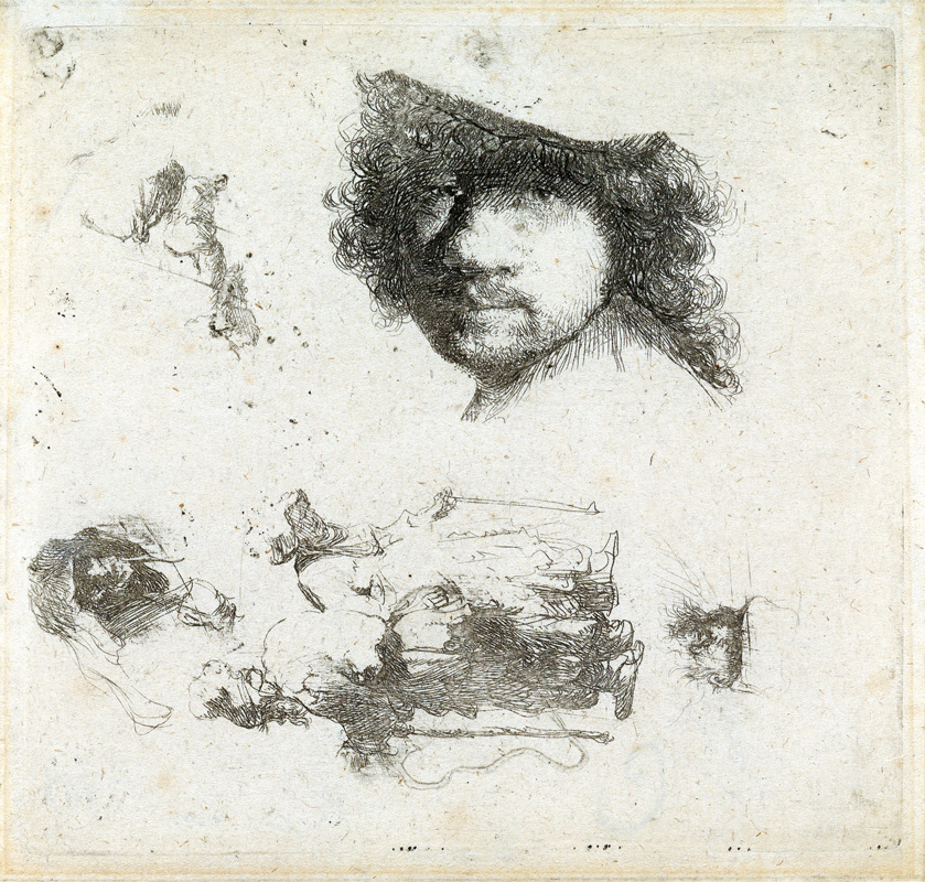 Lot 123: Rembrandt van Rijn, Sheet of Studies: Head of the Artist, A Beggar Couple, etching, circa 1632. $15,000 to $20,000.