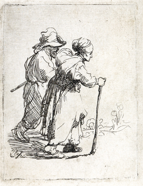 Lot 93: Rembrandt van Rijn, Two Tramps, a Man and a Woman, etching, circa 1634. $15,000 to $20,000.