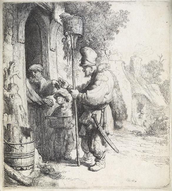 Lot 100: Rembrandt van Rijn, The Rat Catcher, etching and drypoint, 1632. $12,000 to $18,000.