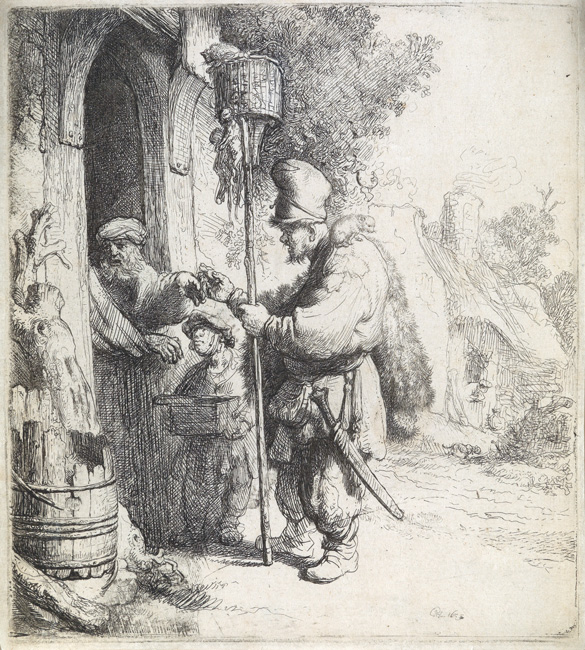 Lot 100: Rembrandt van Rijn, The Rat Catcher, etching and drypoint, 1632. $12,000 to $18,000.