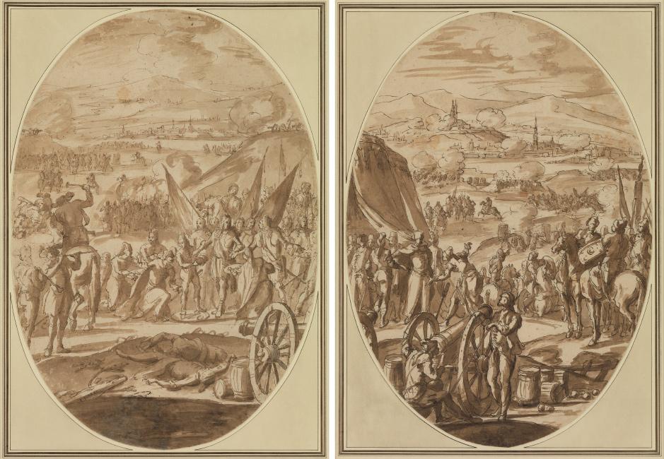 Francesco Monti, Il Brescianino, Scenes from the Battle of Vienna: A Pair, pen, ink and wash, circa 1685. $10,000 to $15,000.