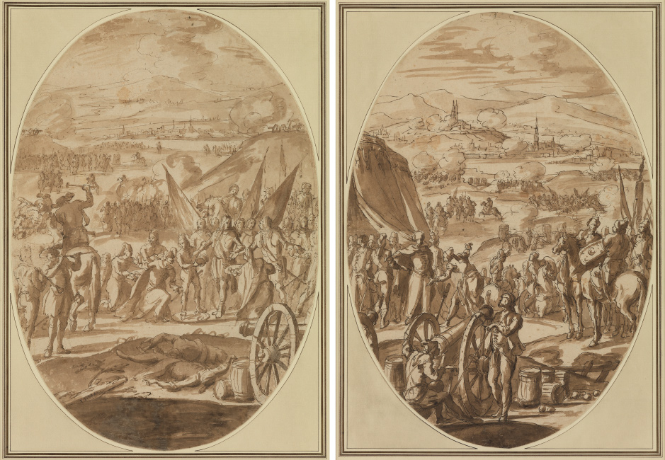 Francesco Monti, Il Brescianino, Scenes from the Battle of Vienna: A Pair, pen, ink and wash, circa 1685. $10,000 to $15,000.