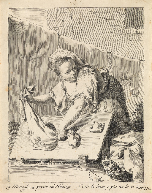 Pietro Antonio Novelli, A Young Woman Washing Linen, pen and ink. $15,000 to $20,000.