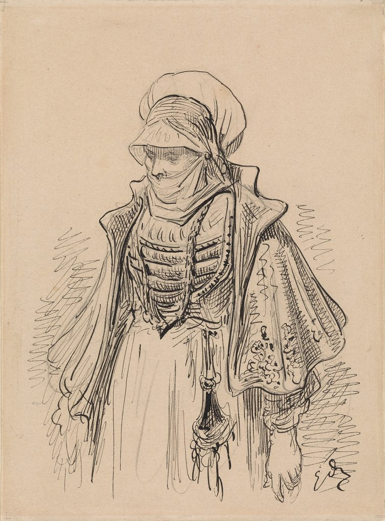 Gustave Doré, A Veiled Woman in Renaissance Dress, pencil, pen and ink. Property from the Eric Carlson Irrevocable Trust. $3,000 to $5,000.