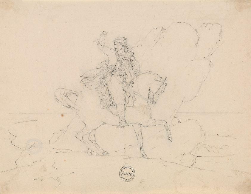 Théodore Géricault, Le Giaour, pen and ink, double-sided, 1820. $7,000 to $10,000.