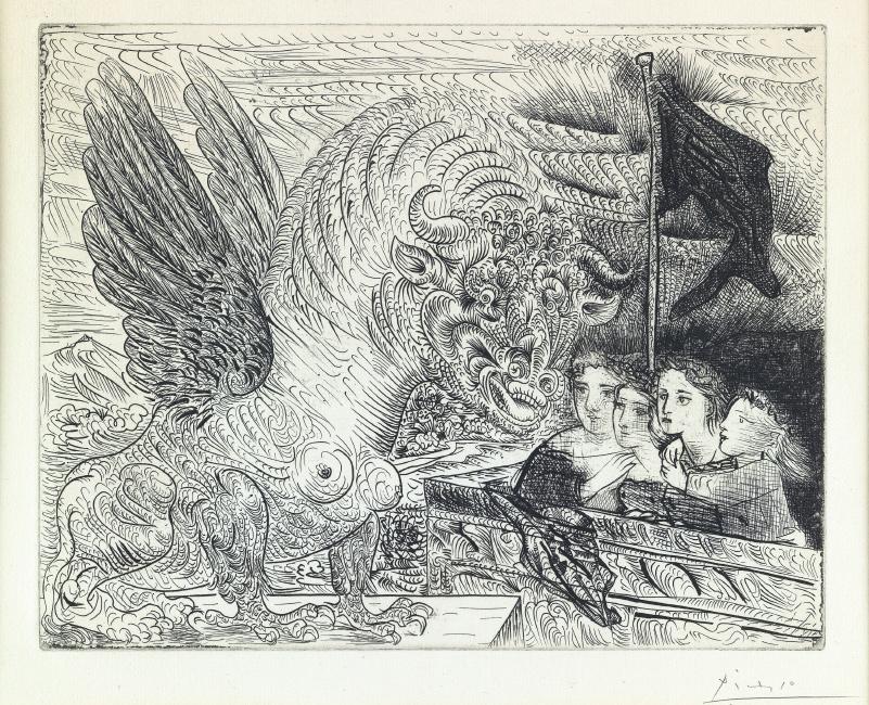 Pablo Picasso, Taureau ailé contemplé par Quatre Enfants, etching, 1934.