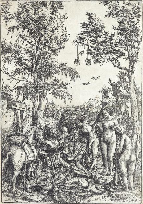 Lucas Cranach, The Judgement of Paris, woodcut 1508. $15,000 to $20,000.
