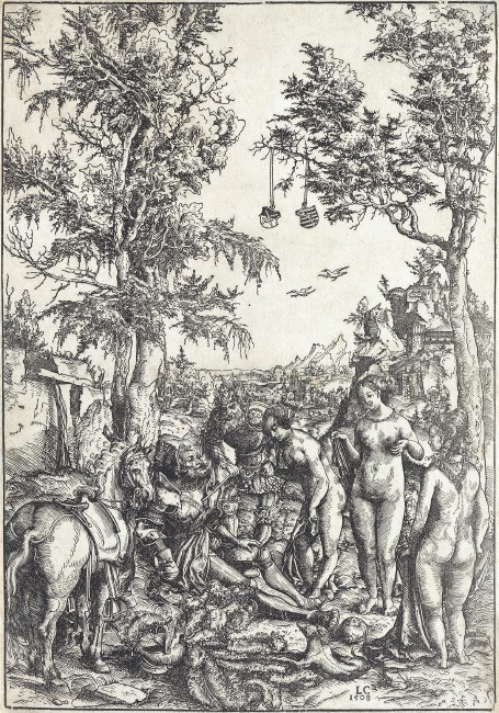 Lucas Cranach, The Judgement of Paris, woodcut 1508. $15,000 to $20,000.