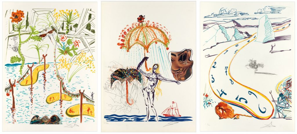 Salvador Dalí, Imaginations and Objects of the Future, complete set, 1975. $25,000 to $35,000.