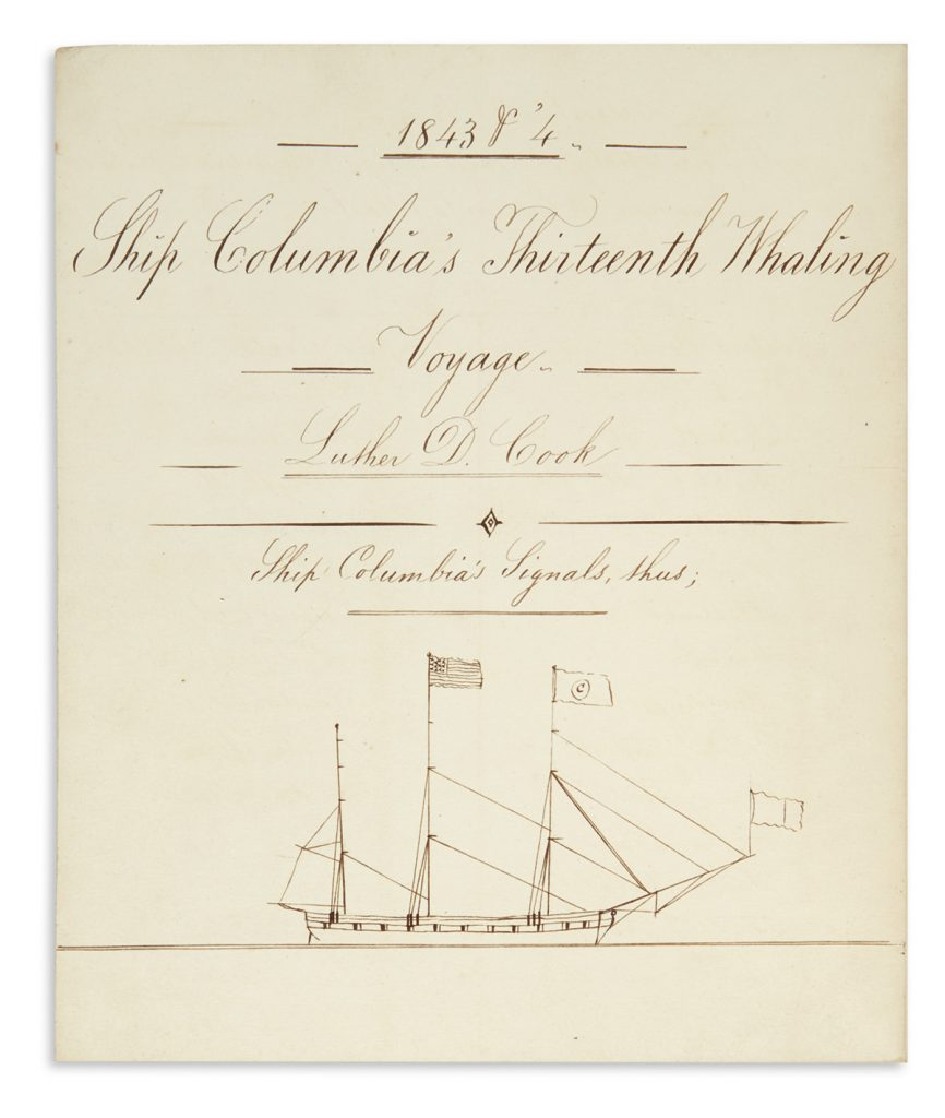 Title page of record books of Long Island whaling merchant Luther D. Cook, 1789-1849.