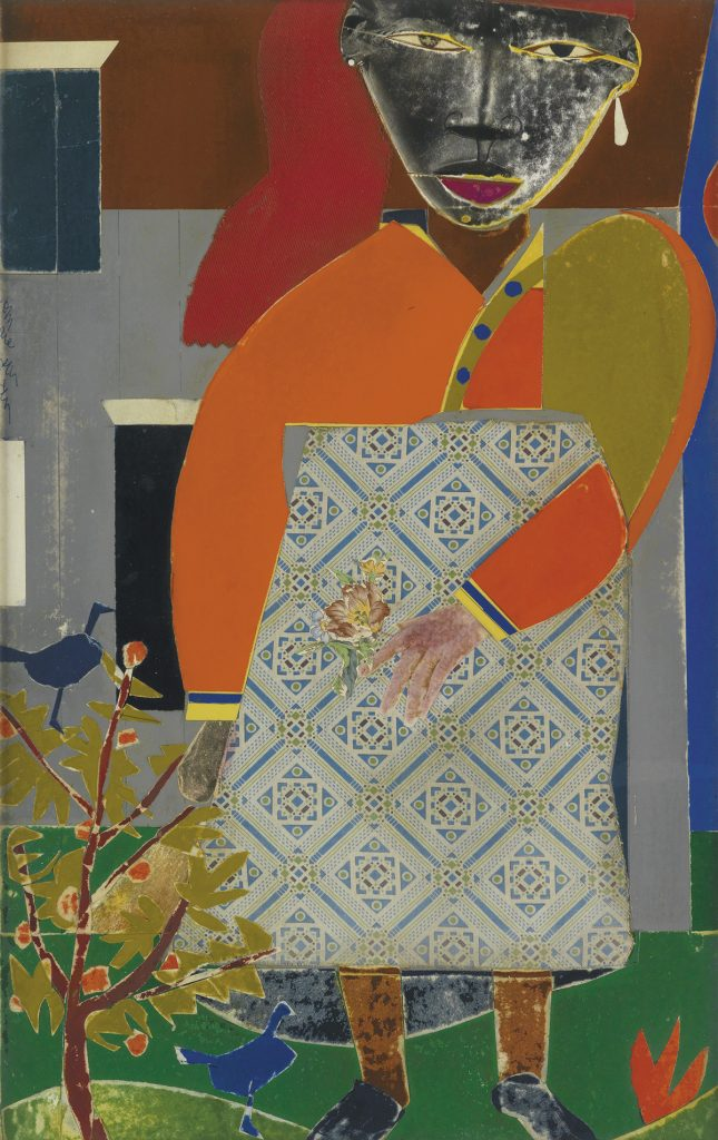 Romare Bearden, Girl in a Garden, collage of various papers & printed fabrics, with ink on board, 1972.