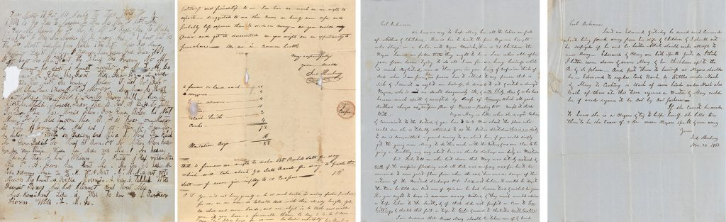 Records of the Dickinson & Shrewsbury salt works, four sheets of old paper with writing, 1820-65.