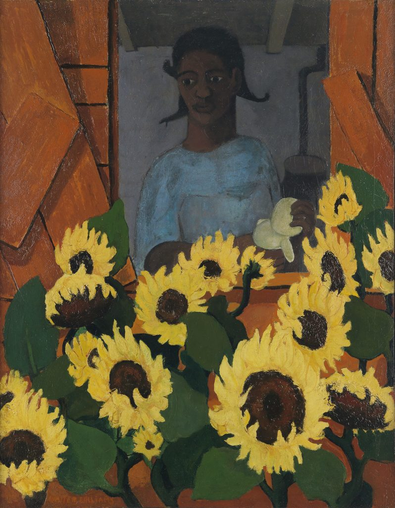 Walter Williams, Sunflower Girl, oil on canvas of a young girl in a widow with sunflowers in the foreground, circa 1951-52.
