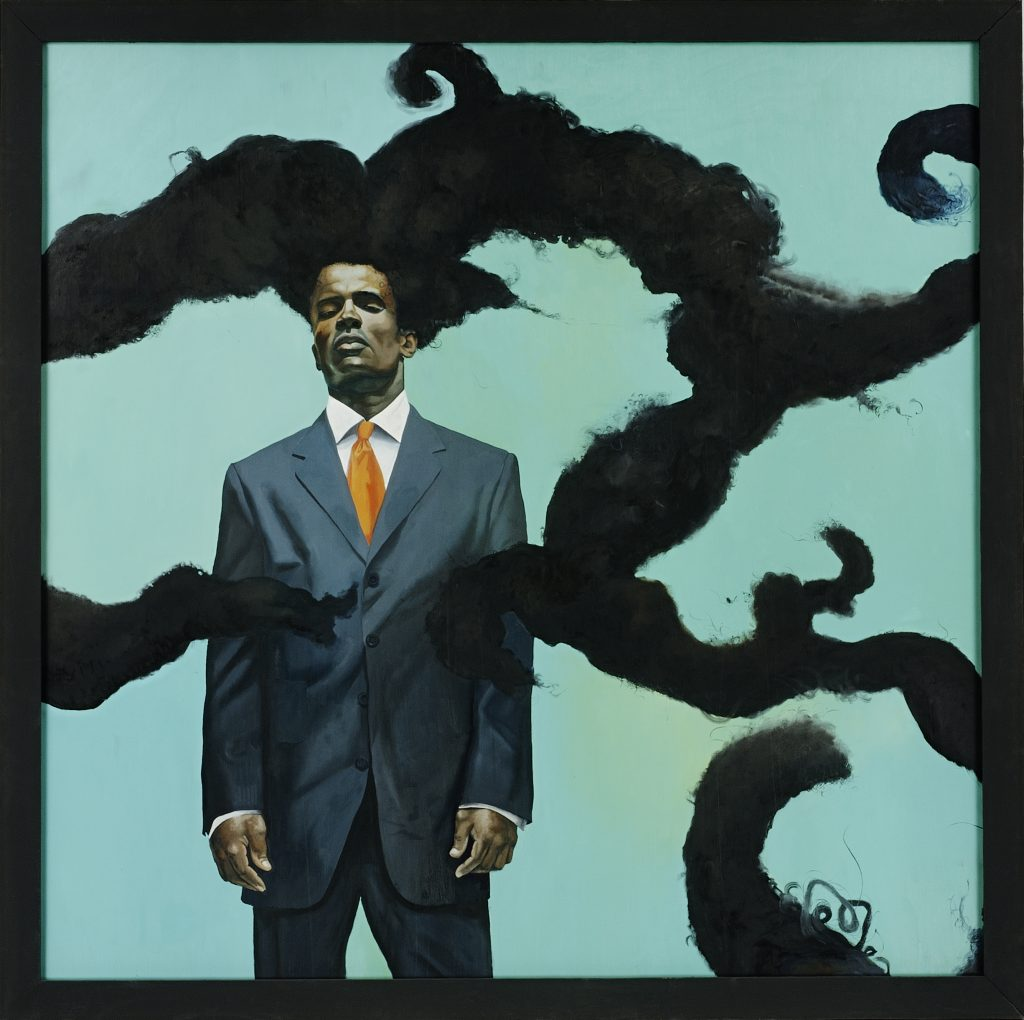 Kehinde Wiley, Conspicuous Fraud Series #1 (Eminence), oil on canvas of a young black man in a suit with a lively branch like afro, 2001.