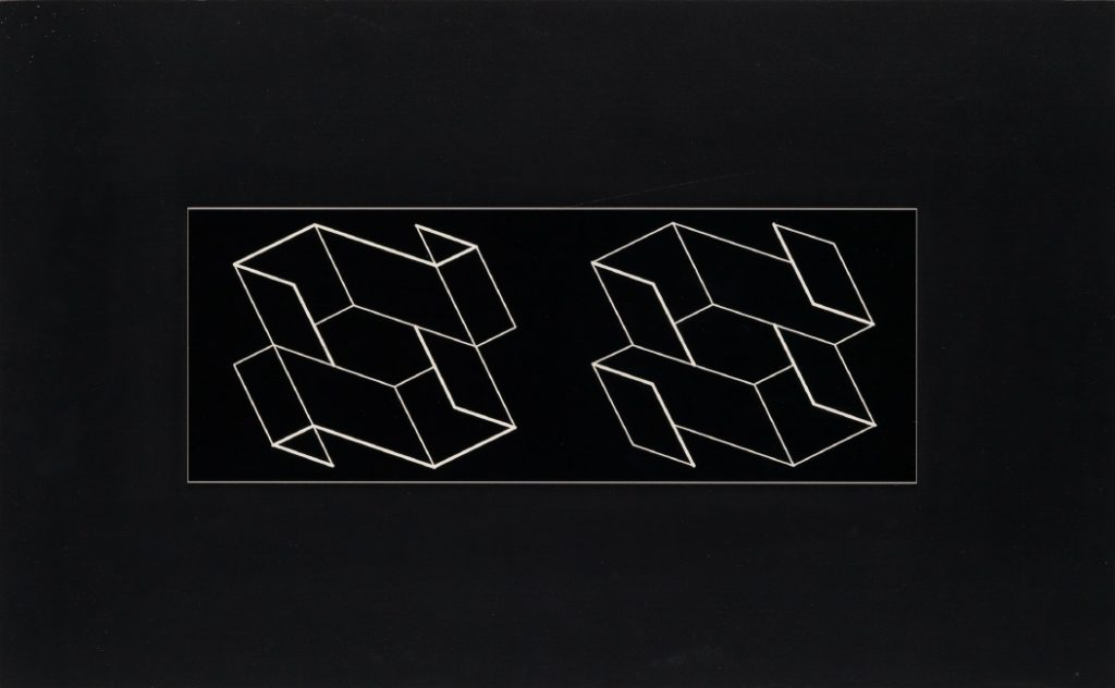 Josef Albers, Duo H, machine-engraved Resopal laminate mounted on particle board, 1966.