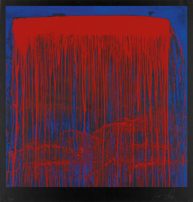 Pat Steir, Berlin Waterfall, color screenprint, 1993.