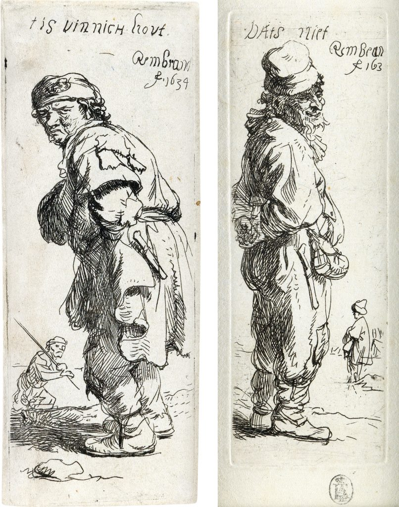 """Left, Lot 96: Rembrandt van Rijn, A Peasant Calling Out """"Tis Vinnich Kout,"""" etching, 1634. $10,000 to $15,000.  Right, Lot 97: Rembrandt van Rijn, A Peasant Replying """"Dats Niet,"""" etching, 1634. $10,000 to $15,000."""