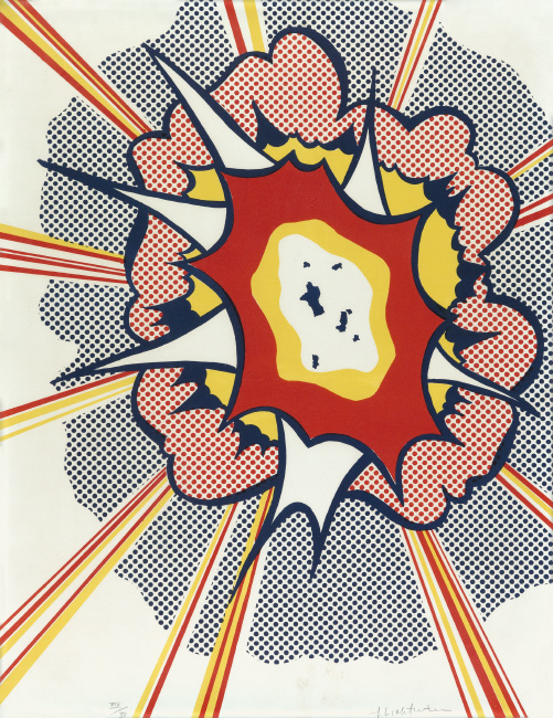 Roy Lichtenstein, Explosion, color lithograph, 1967.