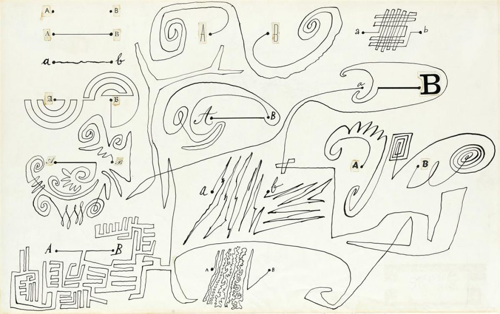 Lot 237: Saul Steinberg, 12 Biographies, A to B, pen and ink with collage, final illustration in his book The Labyrinth, 1960. $12,000 to $18,000.