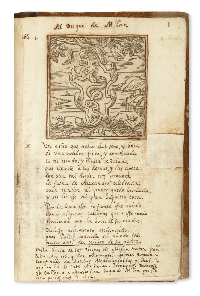 Andrea Alciato, Emblemas, manuscript in Spanish, image of a page in the book with an illustration and text, late 16th-early 17th century.