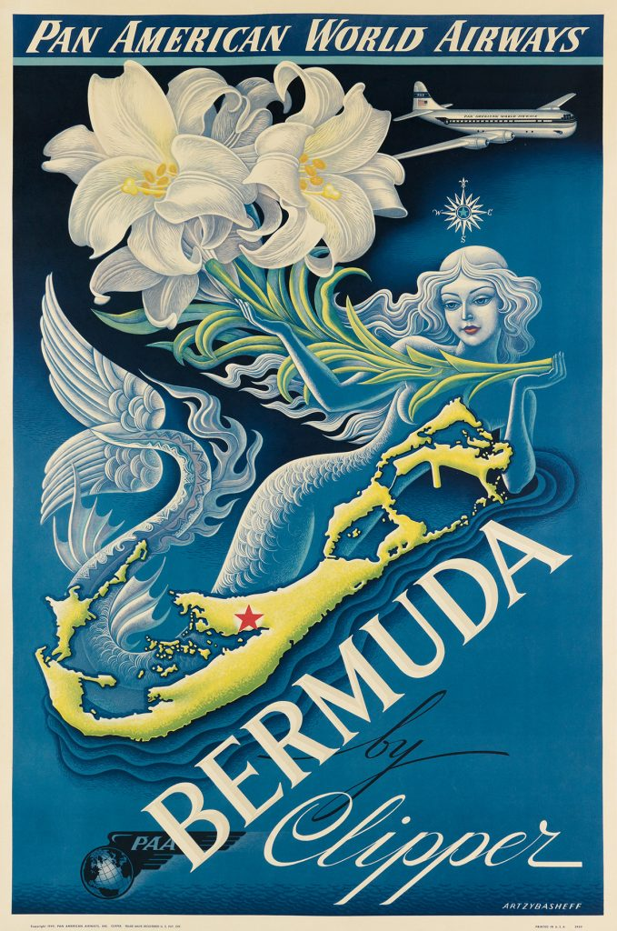 Boris Artzybasheff, Bermuda by Clipper / Pan American World Airways, 1947. Sold for 9,375, a record for the artist.