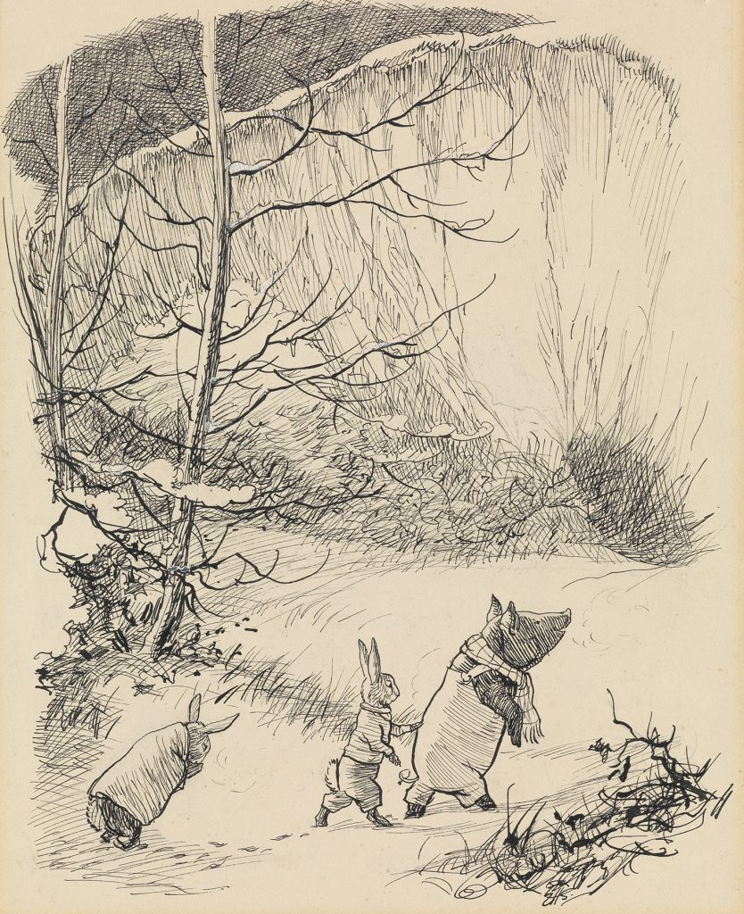 Ernest H. Shepard, He led them into the chalk-pit, till they stood at the very foot, pen and ink, illustration for Kenneth Grahame's Bertie's Escapade, 1949. $10,000 to $15,000.