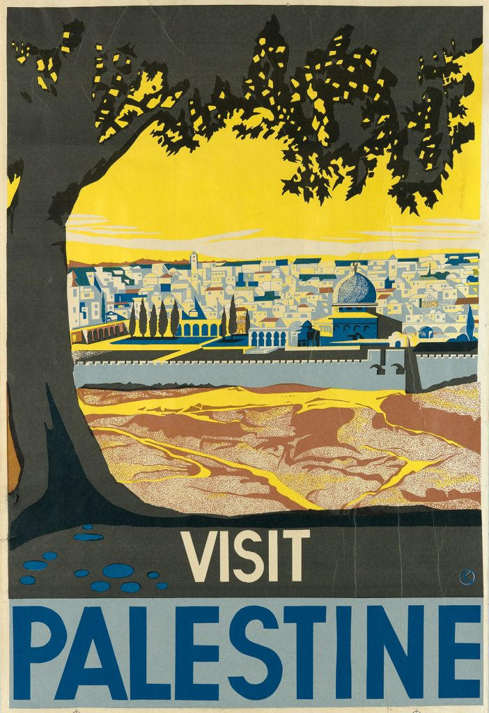 Franz Krausz, Visit Palestine, a poster of a city view of Palestine, 1936.
