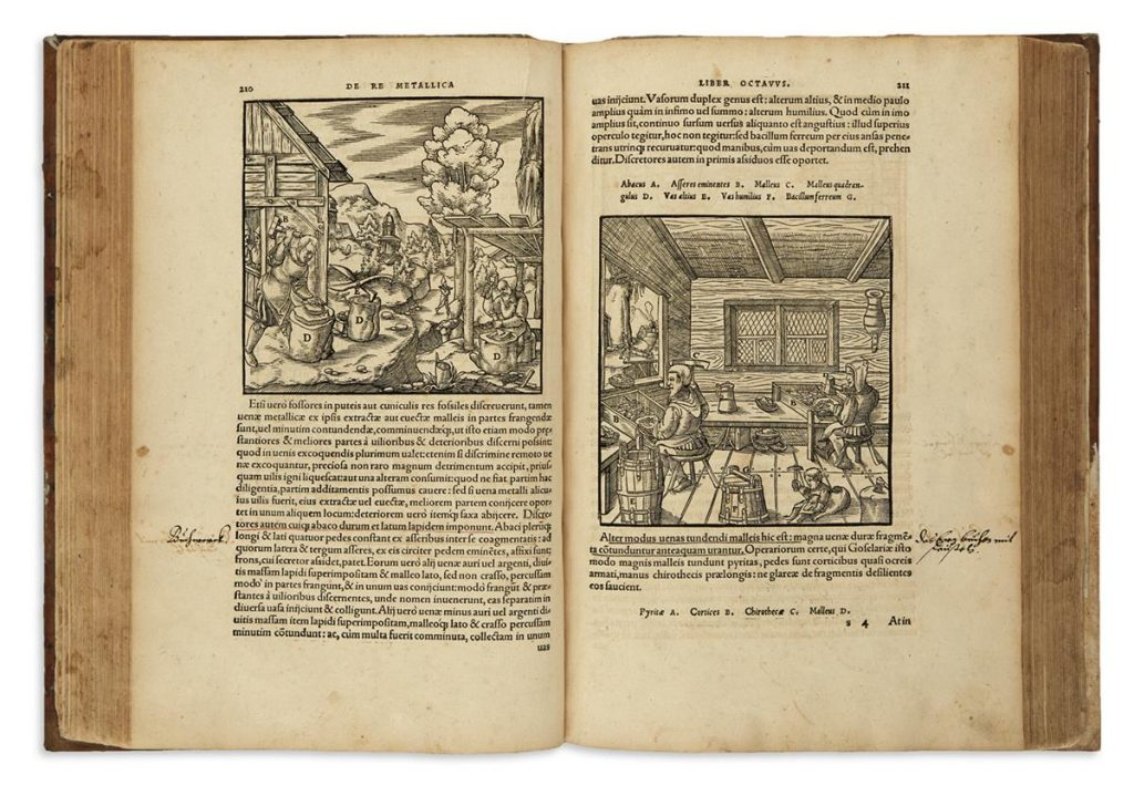 Georg Agricola, De re metallica, image of an open book with two illustrations, Basel, 1561.