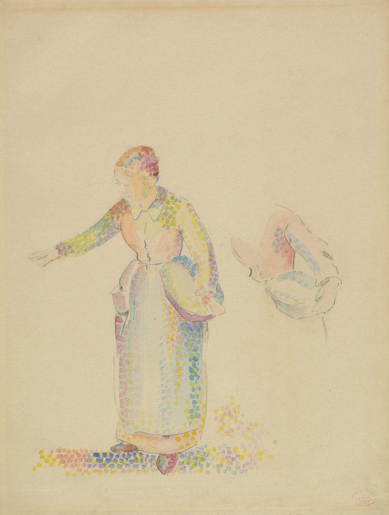 Henri-Edmond Cross, The Sower, pointillist watercolor & pencil of , circa 1890.