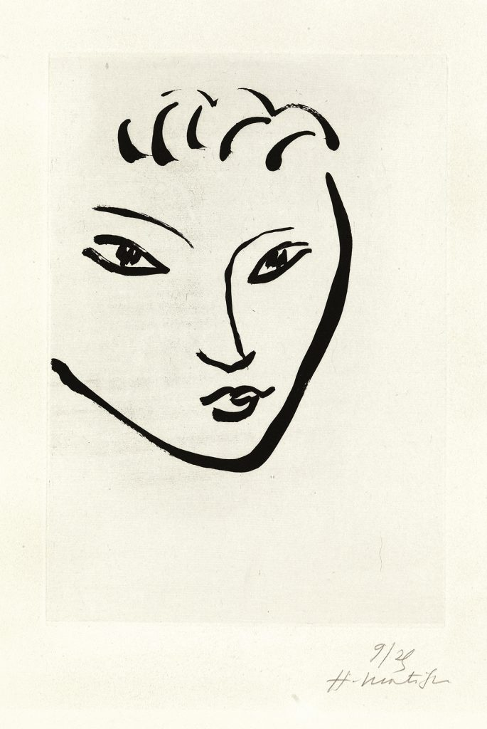 Henri Matisse, Tête de jeune garçon, Masque, aquatint of a outline portrait of a woman, 1946.
