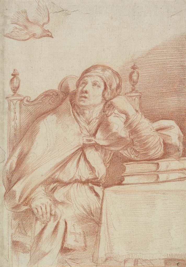 Giovanni Francesco Barbieri, Il Guercino, The Holy Spirit Appearing to St. Gregory, red chalk, late 1640s.