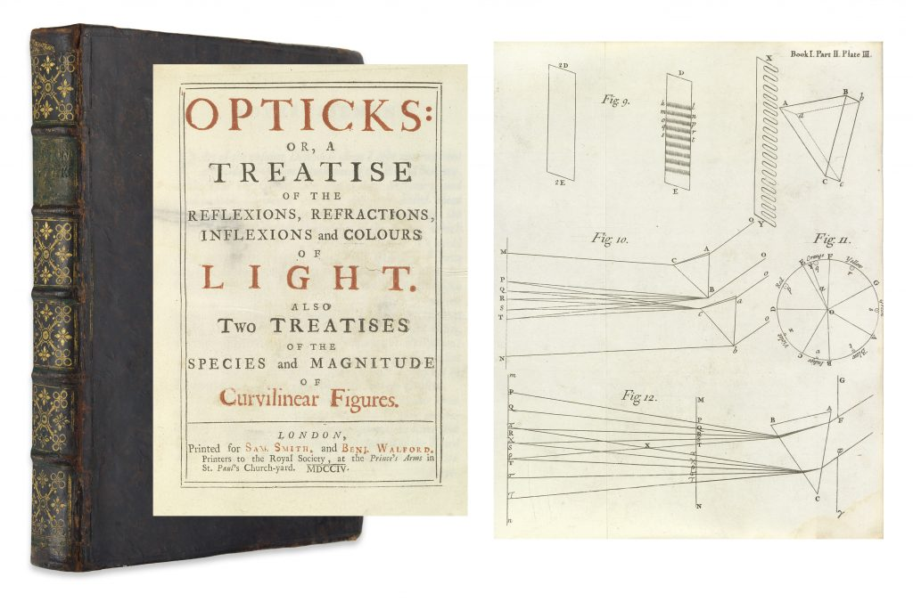 Sir Isaac Newton, Opticks, first edition, first issue, image showing the books binding, cover page and inside illustration, London, 1704.