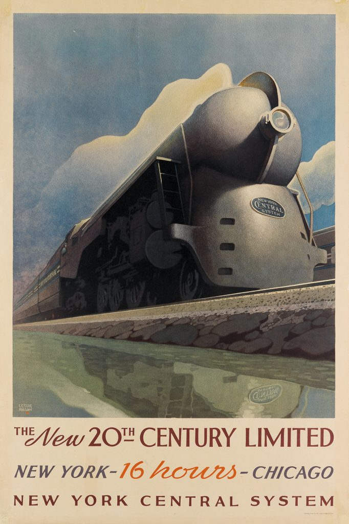 Leslie Ragan, The New 20th Century Limited, poster of a train, 1939.