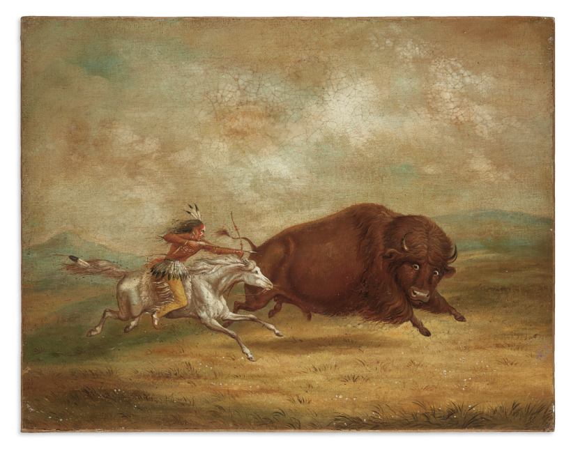 Buffalo Hunt, Chase, oil painting after George Catlin, 19th century.