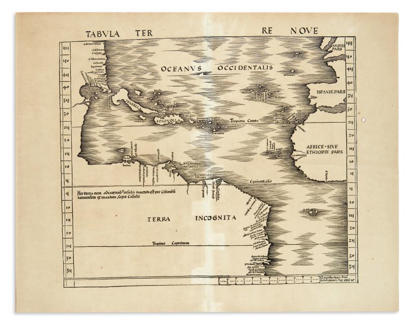 Martin Waldseemüller, Tabula Terre Nove, woodcut map of the Atlantic Ocean, Strasbourg, 1513.