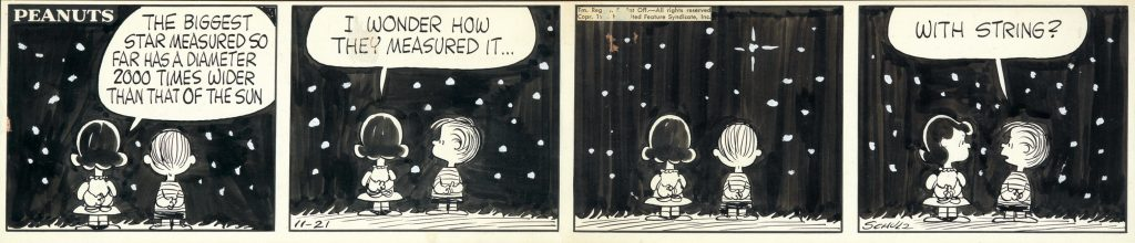 Charles Schulz, The Biggest Star Measured So Far, ink and wash, original Peanuts cartoon, published 1961.