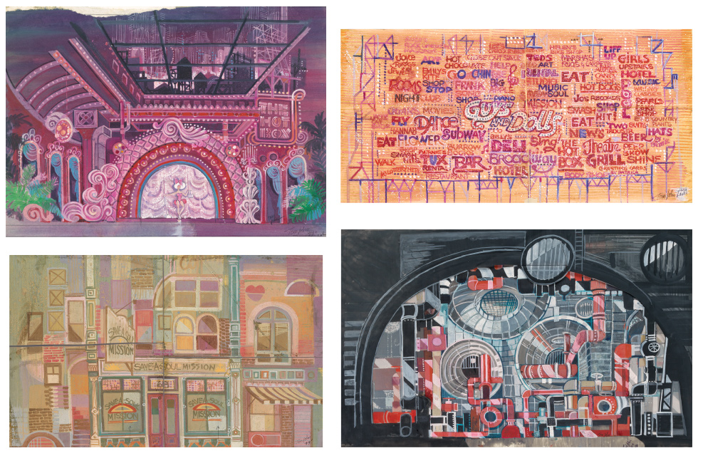 Tom H. John, Guys and Dolls, mixed media, group of four set designs for the 1976 Broadway revival production directed by Billy Wilson.