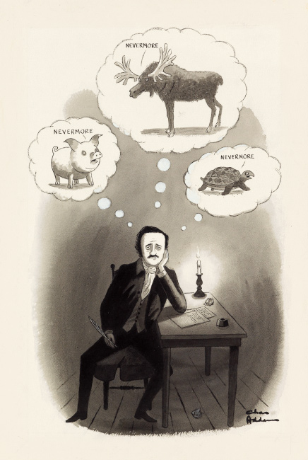 Charles Addams, Nevermore, watercolor, ink and correction fluid, cartoon for The New Yorker, 1973.